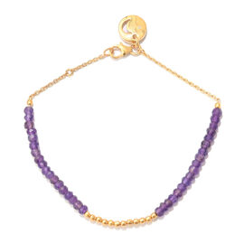 Amethyst (Rnd), Diamond Bracelet (Size 7.5) with Moon Charm in Yellow Gold Overlay Sterling Silver 8.010 Ct.