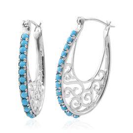 AA Arizona Sleeping Beauty Turquoise (Rnd) Hoop Earrings (with Clasp Lock) in Platinum Overlay Sterling Silver 2.000 Ct.