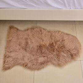 Supersoft Extra-Long Pile (65 mm) Faux Sheep Skin Rug in Chocolate Colour (Size 100x75  Cm)