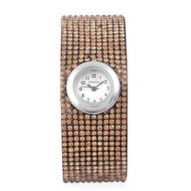 STRADA Japanese Movement White Dial Water Resistant Watch in Silver Tone with Stainless Steel Back and Champagne Colour Austrian Crystals Embellished Velvet Strap