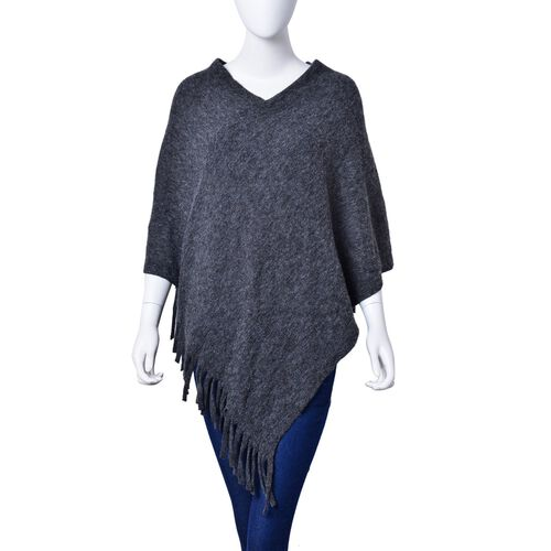 New Autumn / Winter Season - Dark Grey Colour Knitted Poncho with Fringes (Free Size)