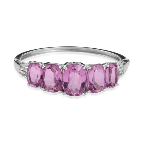 Kunzite Colour Quartz (Cush 12.50 Ct), Diamond Bangle in Platinum Overlay Sterling Silver (Size 7) 44.030 Ct.