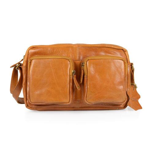 100% Genuine Leather RFID Blocker Tan Colour Shoulder Bag (Size 27X17X4 Cm)