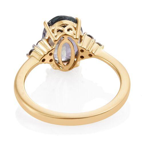 ILIANA 18K Yellow Gold AAA Peacock Tanzanite (Ovl 2.90 Ct), Diamond (SI G-H) Ring 3.100 Ct.