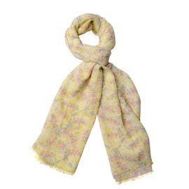 Sky Blue, Cherry Red and Grey Colour Babysbreath Flower Pattern Scarf (Size 180x90 Cm)