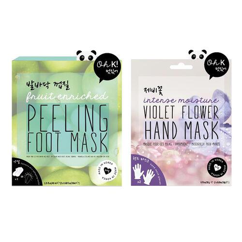 OH K - Peeling Foot  Mask and Violet Flower Hand Mask
