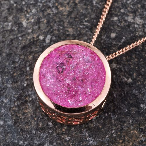Hot Pink Crackled Quartz (Rnd) Solitaire Pendant With Chain in Rose Gold Overlay Sterling Silver 5.250 Ct.