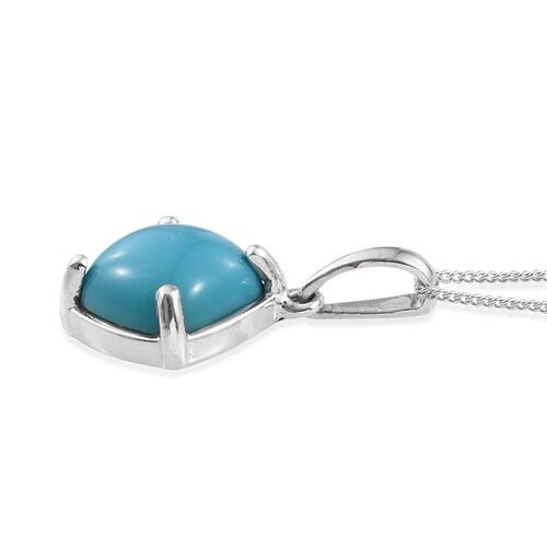 Arizona Sleeping Beauty Turquoise (Cush) Solitaire Pendant with Chain in Platinum Overlay Sterling Silver 4.00 Ct.