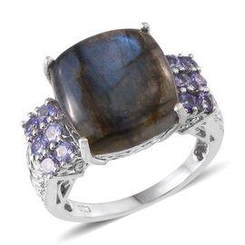 Labradorite (Cush 8.50 Ct), Tanzanite Ring in Platinum Overlay Sterling Silver 9.500 Ct.