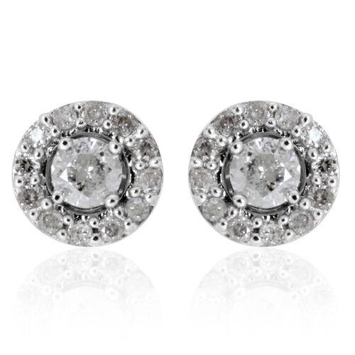 9K White Gold SGL Certified Diamond (Rnd) (I3/G-H) Earrings (with Push Back) 0.332 Ct.