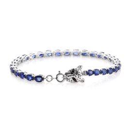 Premium Collection - Designer Inspired Masoala Sapphire (Ovl) Leopard Head Bracelet (Size 7) in Platinum Overlay Sterling Silver 15.000 Ct. Silver wt 9.60 Gms.