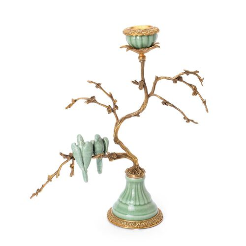 Hand Made Museum Collection - Bronze Tree Candelabrum with Handmade Green Parrots (Size 25x17 Cm)