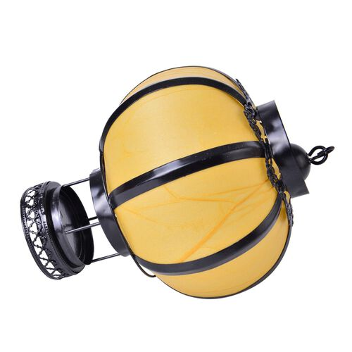 Yellow and Black Colour Round Shape Hanging Lantern (Size 23X16 Cm)