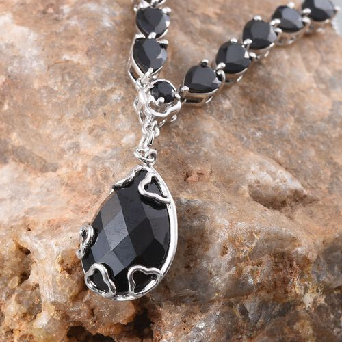GP Boi Ploi Black Spinel (Pear 12.00 Ct), Kanchanaburi Blue Sapphire Necklace (Size 18) in Platinum Overlay Sterling Silver 21.280 Ct.