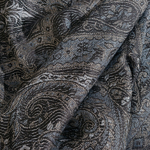 SILK MARK - 100% Super Fine Silk Asphalt Colour Paisley Pattern Black Colour Jacquard Jamawar Scarf with Fringes (Size 180x70 Cm) (Weight 125 - 140 Gms)