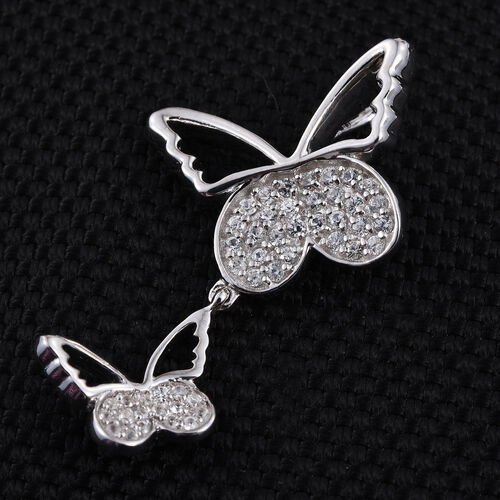 Kimberley Butterfly Collection Natural Cambodian Zircon (Rnd) Butterfly Pendant in Platinum Overlay Sterling Silver 0.500 Ct.