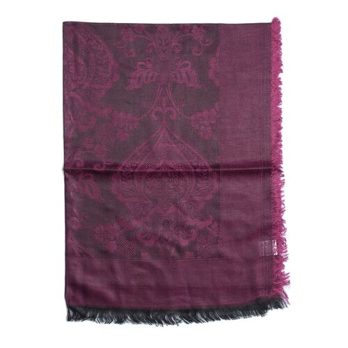 100% Modal Damask Pattern Magenta and Black Colour Shawl (Size 180x70 Cm)