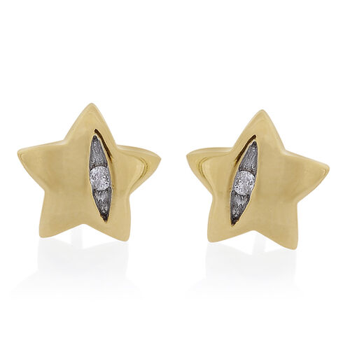 9K Yellow Gold Diamond Star Stud Earrings (with Push Back) SGL Certified (I3/G-H)