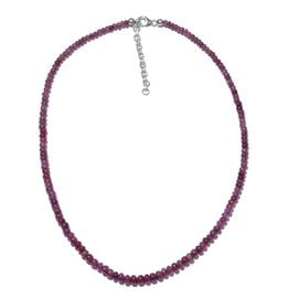 Burmese Ruby (73.60 Ct) Platinum Overlay Sterling Silver Necklace (Size 18)  73.600  Ct.