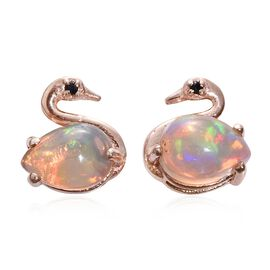 Ethiopian Welo Opal (Pear), Boi Ploi Black Spinel Swan Stud Earrings (with Push Back) in Rose Gold Overlay Sterling Silver 1.000 Ct.
