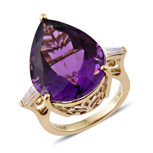 9K Y Gold AAA Zambian Amethyst (Pear), Natural Cambodian Zircon Ring 15.000 Ct.