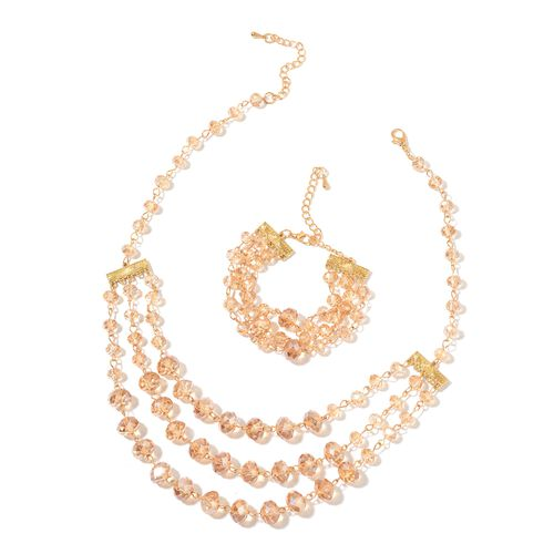 Simulated Champagne Diamond Triple Strand Necklace (Size 19 with 3 inch Extender) and Bracelet (Size 7.5 with 2.5 inch Extender) in Yellow Gold Tone