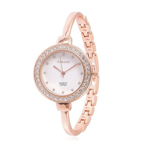 STRADA Japanese Movement Austrian Crystal Studded Watch in Rose Gold Tone with Interchangeable Bezels