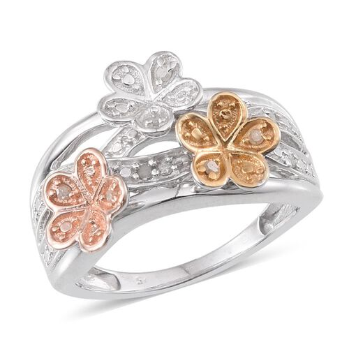 Diamond (Rnd) Floral Ring in Rose Gold, Yellow Gold and Platinum Overlay Sterling Silver 0.100 Ct.