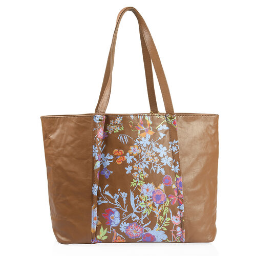 Premium Collection - 100% Genuine Leather RFID Blocker Tan and Multi Colour Tote Bag with External Zipper Pockets and Adjustable Shoulder Strap (Size 46X29X10 Cm)