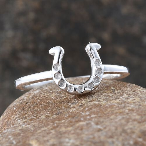Silver Horseshoe Ring in Platinum Overlay