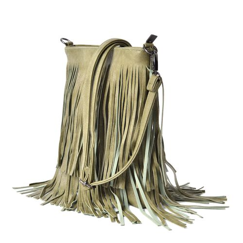 Light Green Colour Crossbody Bag with Fringes and Adjustable, Removable Shoulder Strap (Size 26x24.5 Cm)