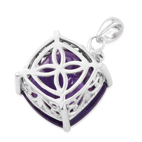 Lusaka Amethyst (Cush), Diamond Pendant in Platinum Overlay Sterling Silver 9.010 Ct.