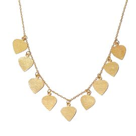 Italian Designer Inspired-Yellow Gold Overlay Sterling Silver Dangling Hearts Necklace (Size 18), Silver wt. 9.40 Gms.