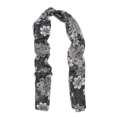 100% Mulberry Silk Black and White Colour Handscreen Floral Printed Scarf (Size 180X50 Cm)