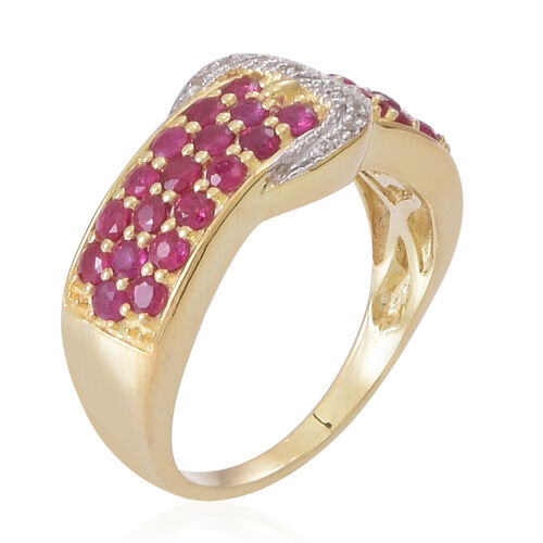 AAA Burmese Ruby (Rnd), White Topaz Buckle Ring in Yellow Gold Overlay Sterling Silver 2.250 Ct.