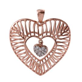 J Francis - Rose Gold Overlay Sterling Silver Dangle Heart Pendant Made with SWAROVSKI ZIRCONIA