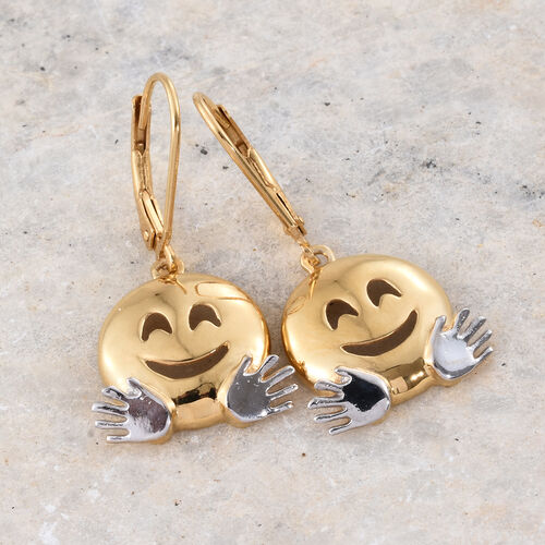 Hugging Face Smiley Silver Lever Back Earrings in Platinum and Gold Overlay