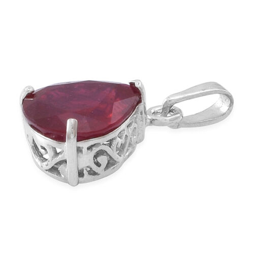 African Ruby (Pear) Solitaire Pendant in Rhodium Plated Sterling Silver 5.000 Ct.