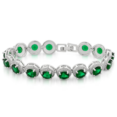 JCK Vegas Collection AAA Simulated Emerald (Rnd) Bracelet (Size 7) in Silver Bond