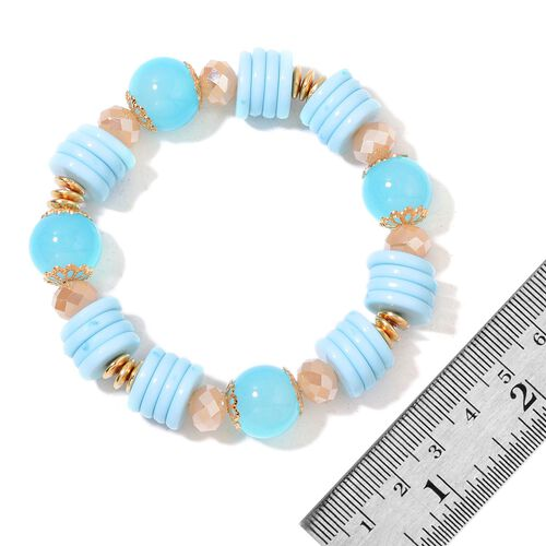 Set of 5 - Simulated Turquoise, Simulated Champagne Diamond and Golden Beads Stretchable Bracelet (Size 7) with Charms in Yellow Gold Tone