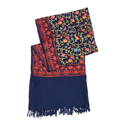 100% Merino Wool Red and Multi Colour Floral Embroidery Blue Colour Shawl with Fringes at the Bottom (Size 200x70 Cm)