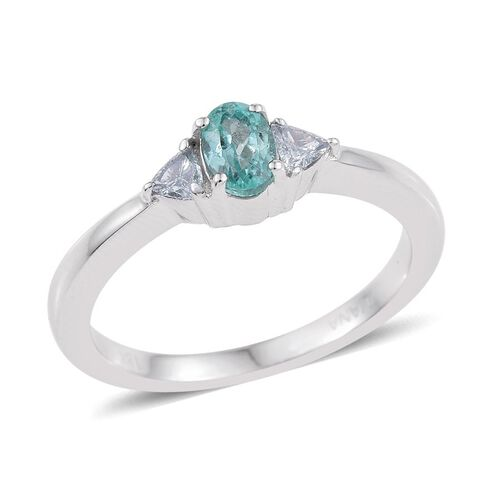 ILIANA 18K White Gold Mozambique Paraiba Tourmaline (Ovl 0.55 Ct), Diamond (SI G-H) Ring 0.750 Ct.