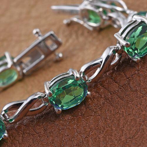 Peacock Quartz (Ovl) Bracelet (Size 7.5) in Platinum Overlay Sterling Silver 17.250 Ct.