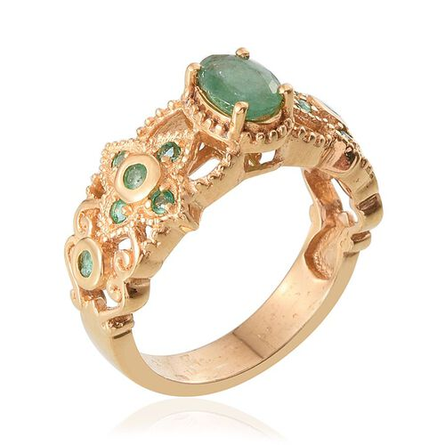 Kagem Zambian Emerald (Ovl 0.75 Ct) Ring in 14K Gold Overlay Sterling Silver 1.000 Ct.