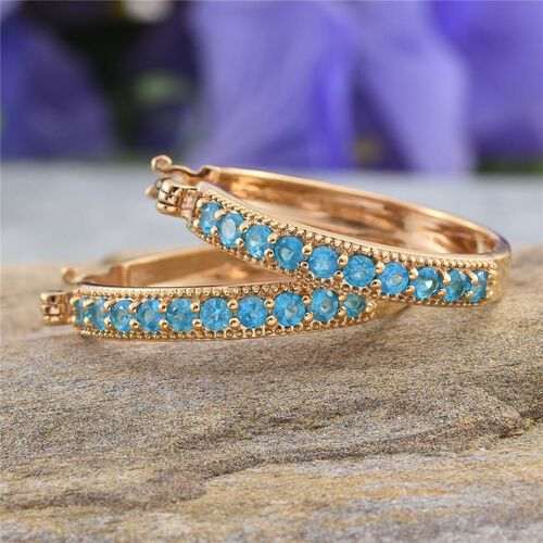 Malgache Neon Apatite (Rnd) Hoop Earrings (with Clasp) in 14K Gold Overlay Sterling Silver 1.500 Ct.