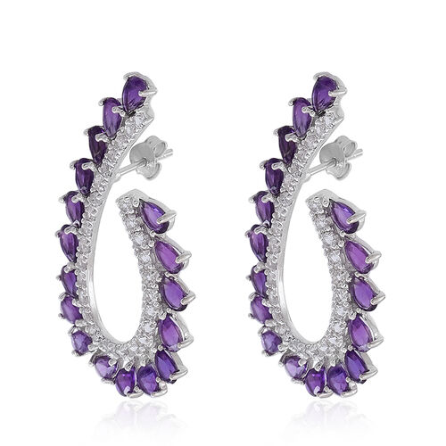 AA Lusaka Amethyst (Pear), White Topaz Earrings (with Push Back) in Rhodium Plated Sterling Silver 10.000 Ct.