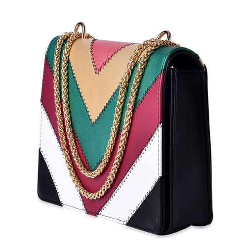 Black and Multi Colour Crossbody Bag with Chain Strap (Size 24x19x5.5 Cm)