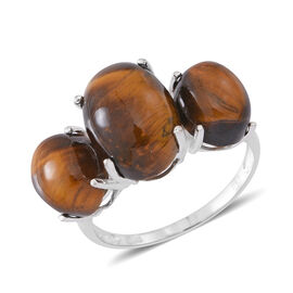 African Tigers Eye (Ovl) 3 Stone Ring in Sterling Silver 15.000 Ct.