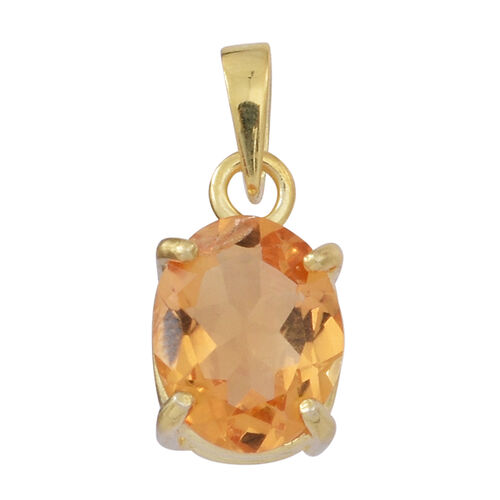 Citrine (Ovl) Solitaire Pendant in Yellow Gold Overlay Sterling Silver 3.500 Ct.