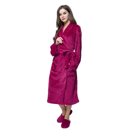 Supersoft Short Pile Microflannel Burgundy Colour Bath Robe (Free Size) and Slippers